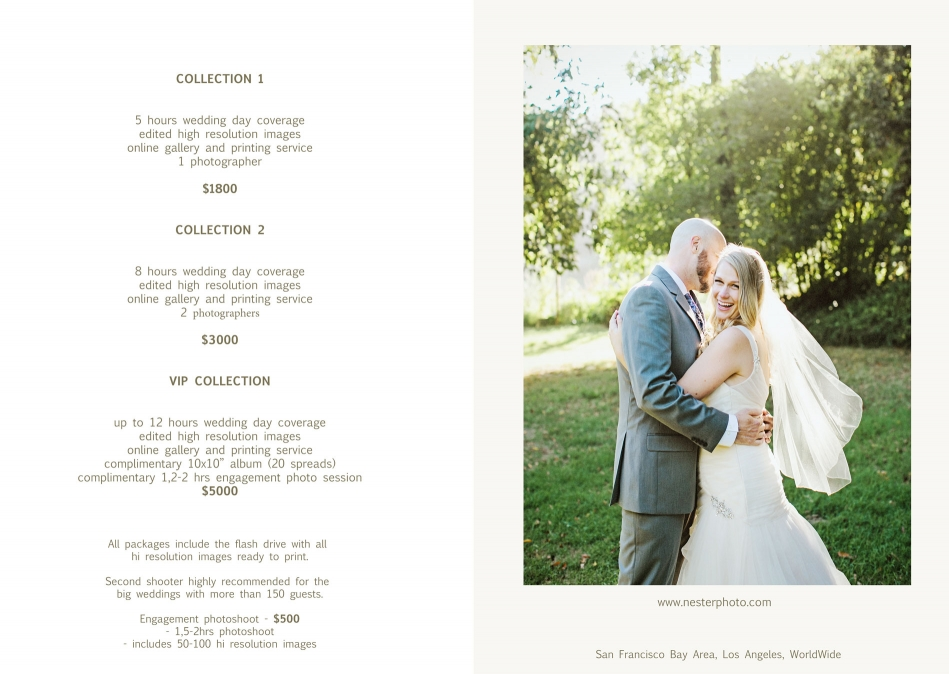 100 Wedding Photography Package Pricing List